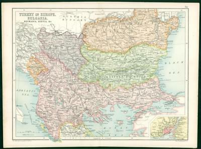 1912 Original Colour Antique Map  - EUROPE TURKEY BUGARIA ROUMANIA SERVIA   (51)