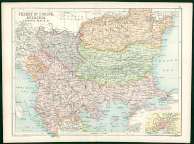1912 Original Colour Antique Map  - EUROPE TURKEY BUGARIA ROUMANIA SERVIA   (51)