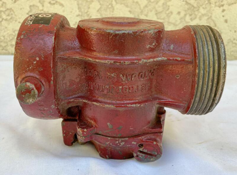 Antique Brass Fire Fighting LFK Metropolitan 1926 Hand Crank Shut Off Valve