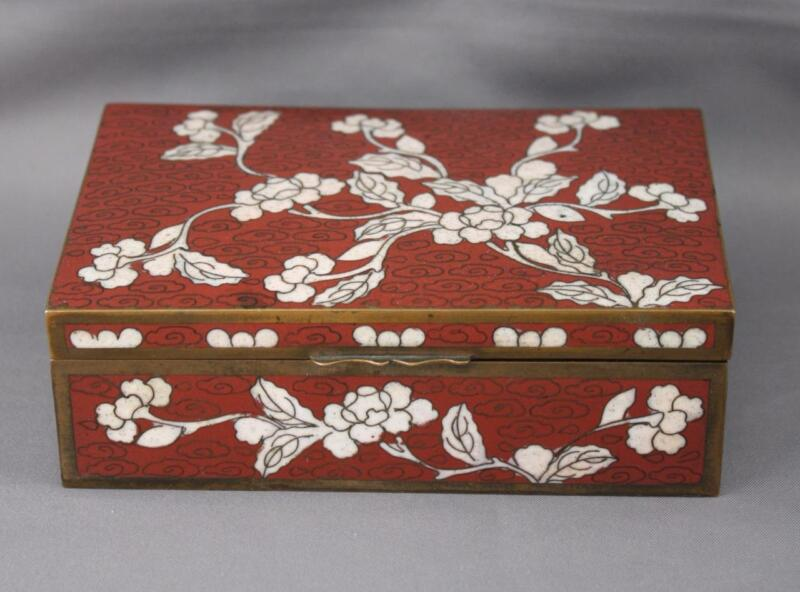 VTG or Antique Chinese Brass Red White Floral Cloisonne Hinged Divided Box China