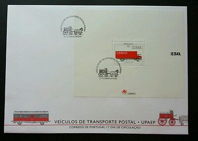 Portugal Postal Transportation 1994 Service Van Carriage Vehicle Railway  Ms Fdc