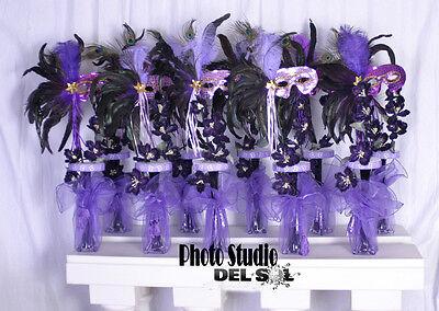 10 Centerpieces Quinceanera sweet sixteen Masquerade Mardi Grass Mask lot of 10 - Sweet Sixteen Center Pieces