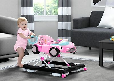 Girls Baby Walker Race Car Toys Music Activity Adjustable Learning Pink New