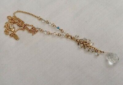 Kirks Folly Faceted Glass Bead Necklace Gold Tone With Clear Beads
