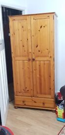 SOLID PINE 2 DOOR WARDROBE WITH DRAWER NEW CONDITION (SE23)