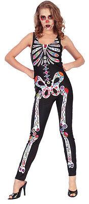 Tag der Toten Jumpsuit Damenkostüm NEU - Damen Karneval Fasching Verkleidung Kos