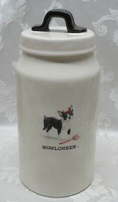 RAE DUNN BOSTON TERRIER DOG CANISTER Artisan Red Horns Pitch Fork HALLOWEEN ()