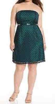 Eyelet Tube Dress - LANE BRYANT 28 Dress Strapless Tube Green Eyelet Lace with Belt Geo Sislou M15