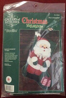 "Bucilla Santa's Pockets ~ 15"" Felt Christmas Stocking Kit #32966"