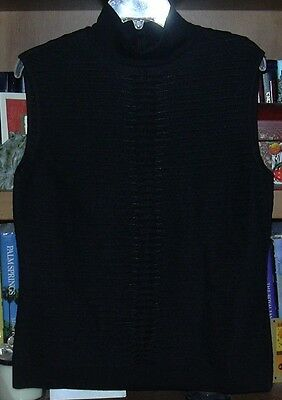 NWOT Escada Black Pleated Sleeveless Tank Top Size 10