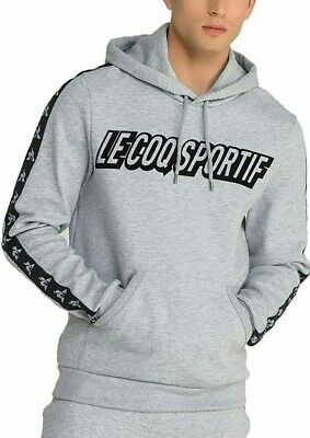 MED French Brand le coq sportif Men's LINEAR PULLOVER TAPE HOODIE LAST1