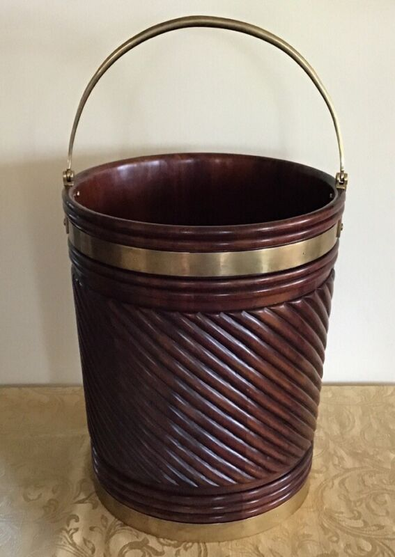 Antique Georgian Style Irish Peat Bucket Carved Mahogany Brass Bound Bail Handle