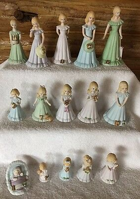 Lot of 15 Vintage Enesco~Growing Up Birthday Girl Figurines B-15 Age 3 Missing