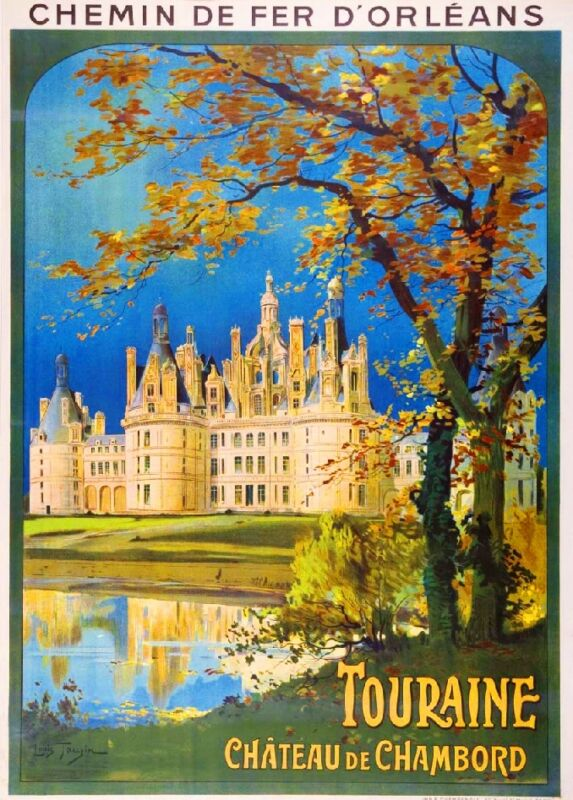 1930s Chateau de Chambord France French European Travel Art Poster Advertisement