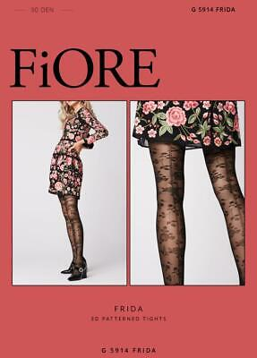 Floral Design Tights - FIORE FRIDA DESIGN PANTYHOSE TIGHTS 3 SIZES BLACK GREAT W/ A FLORAL DRESS