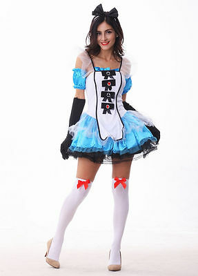 Alice In Wonderland Costume Party (Alice in Wonderland Lolita Dress Sexy Maid Costume for Cosplay Party (SIZE:)