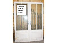 White wooden French doors, with double glazed windows
