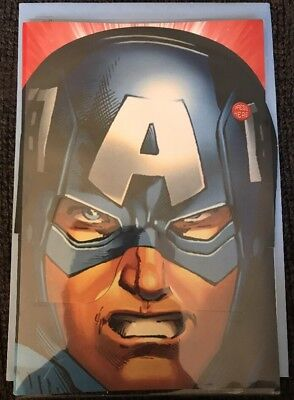 Hallmark Captain America Happy Birthday SOUND Card w/Mask - Captain America Birthday Card