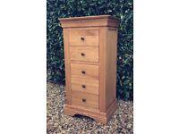 Solid Oak - Original Rustic - Tallboy Chest of 5x Drawers Oak Furniture Land Beautiful & Immaculate