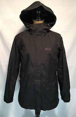 JACK WOLFSKIN WOMEN'S ICELAND 3 IN 1 FLEECE JACKET HOODED COAT BLACK MEDIUM - 200 Fleece Hooded Jacket