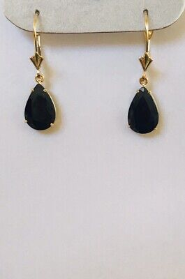 14k Solid Yellow Gold Dangle Level Back Earring With Pear Sapphire(Enhanced)2.50