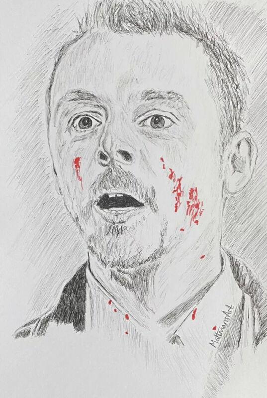 Shaun Of The Dead Simon Pegg Colour Halloween Ink Sketch #MattmansArt