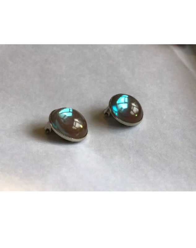 Vintage  Costume Saphiret - Round Glass Clip On Earrings サフI ィレット