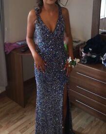 Mac Duggal Navy Sequin Formal Dress