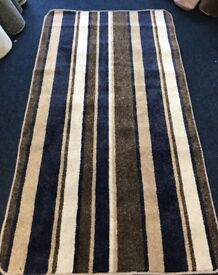 Blue and brown Saxony stripped runner 210cm x 113cm