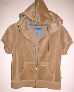 Groggy Cotton Velvet Short Sleeve Hoodie Top Jacket NWOT Tan