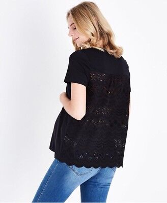 New Look - Maternity Black Broderie Back Top - Size 8 - BNWT