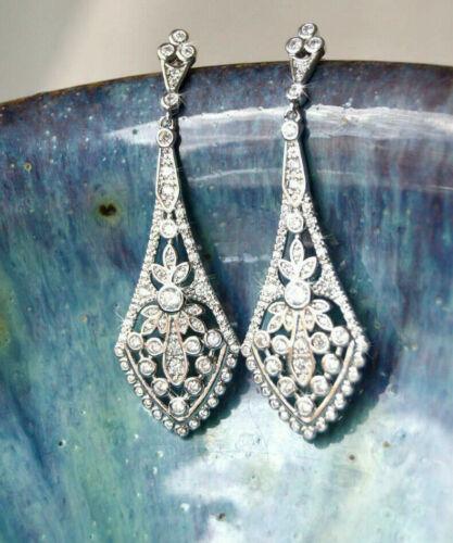 Vintage Art Deco Engagement Chandelier Earrings 14K White Gold 2Ct Round Diamond