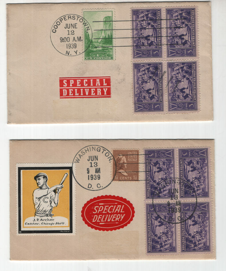 855 Baseball 1939 First Day Cover Second Day Cover -block Of 4 Special Del - $46.00