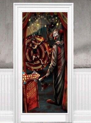 HALLOWEEN Creepy CARNIVAL Evil Side Show KILLER CLOWN Door Cover Decoration Prop