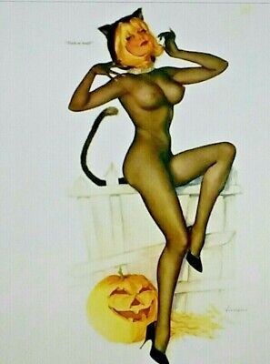 Pin Up Girl Halloween (*UNUSED* Halloween Postcard: Vintage Vargas Pin Up Girl)