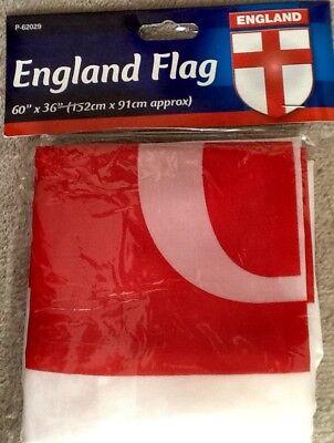"1 England Flag 60"" X 36"" (152 cm X 91 cm approx) St George Cross design BNIP"