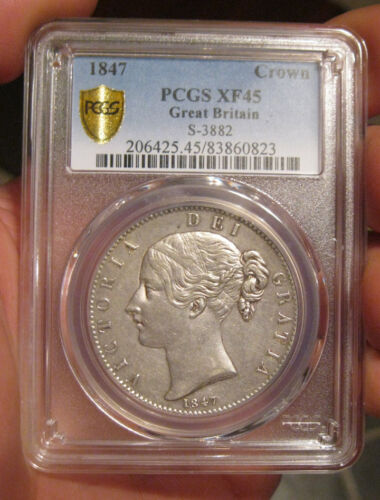 Great Britain - 1847 Large Silver Crown (PCGS XF 45)