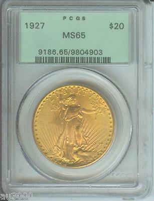 1927 $20 ST. GAUDENS DOUBLE EAGLE PCGS MS65 MS 65 SAINT OLD GREEN HOLDER OGH PQ