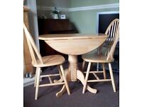 Drop Leaf Pine Table with 2 chairs