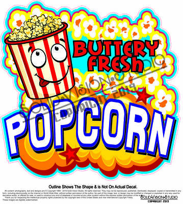 Popcorn Buttery Fresh Concession Trailer Food Cart Truck Menu Sign Sticker Decal