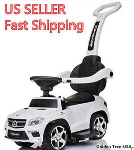 Ride On Toy Push Car Stroller Mercedes Kids Child Toddler LED Light Handle White