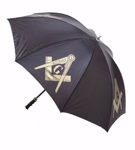 "Masonic 30"" Jumbo Black Umbrella - Mason - Straight Handle - Fiberglass Shaft"