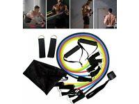 Lowest Priced Brand New 11pc Resistance Bands Home Yoga Gym Workout
