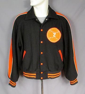 Vintage 1950s Ahorn Wolle Varsity Jacke Society Baseball Patch Schwarz/Orange Varsity Jacke Patches