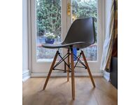 4 Ikea Dining Chairs, Wooden Legs, Grey Chair