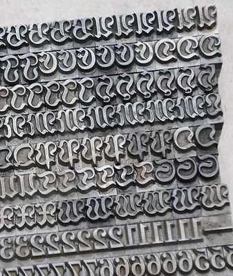 Magere Fraktur 24° Bleischrift Bleilettern Buchdruck Bleisatz ABC Buchdruck