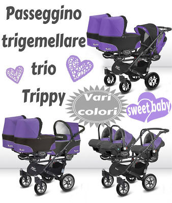 Triple Triplets Buggy Kinderwagen für Drillinge 3 in 1 alle Farben ()
