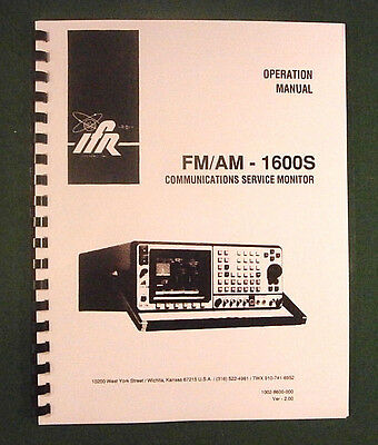 Ifr Fmam 1600s Communications Monitor Operation Manual
