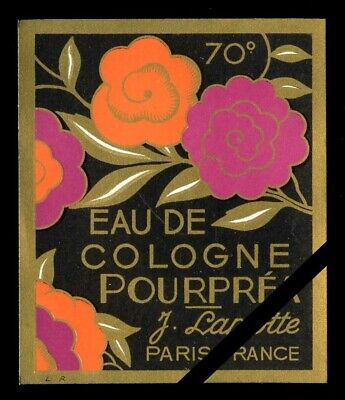 Vintage French Perfume Label: Antique Art Deco - Pourprea, J. Lamotte, Paris  Antique Label Art