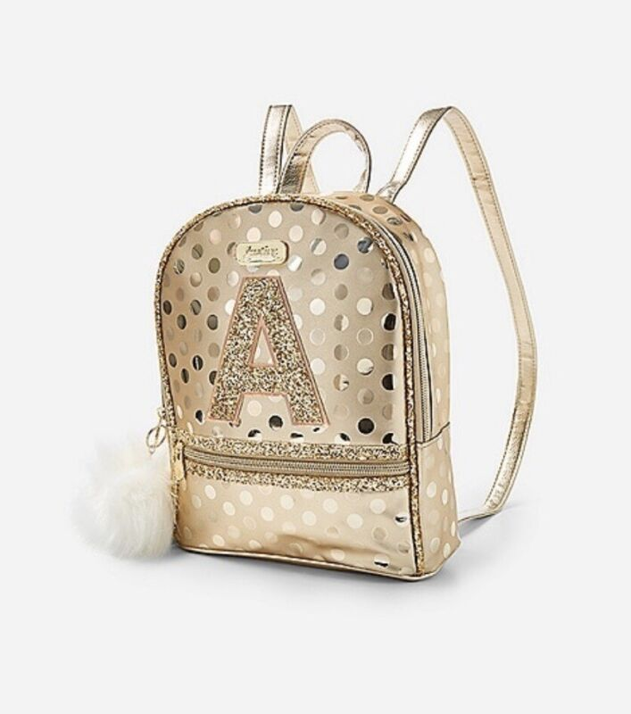 NWT Justice Girls Gold Shine Initial MINI Backpack! Choose Letter!  💕💕💕